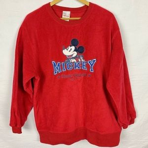 DISNEY Mickey Mouse Fleece Crewneck Sweatshirt L